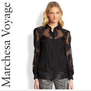 MARCHESA VOYAGE BLACK SHEER EMBROIDERED BLOUSE 6